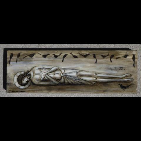 Jeesus makaa haudassa mustien lintujen ympäröimänä.