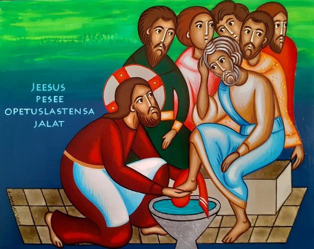 Jeesus pesee opetuslasten jalat.