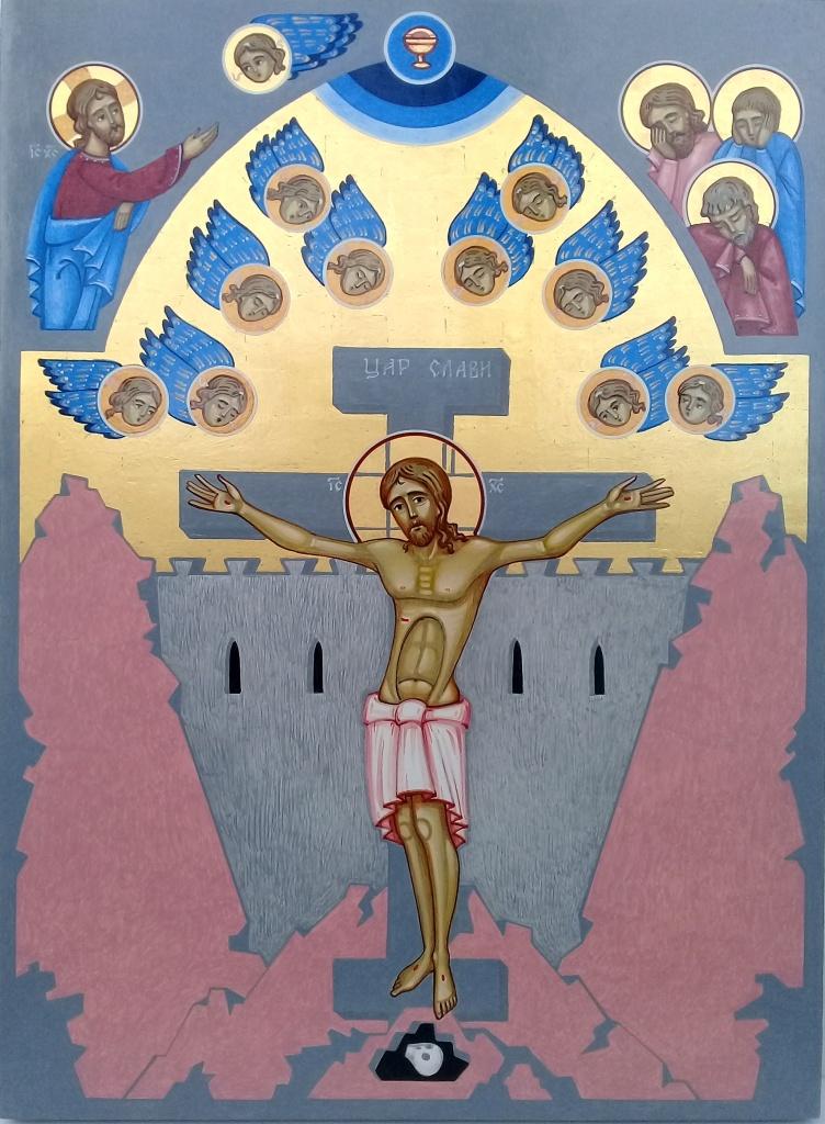 Maalaus Jeesuksesta ristillä Jerusalemin muurin edustalla. Taivaalla enkelten parvi ja pyhät surevat.