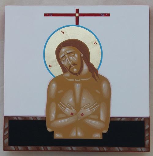 Jeesus pää painuksissa ja lävistetyt kädet ristissä rintaa vasten.