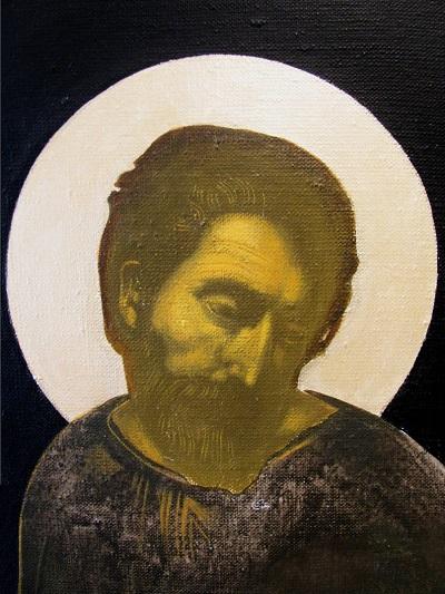 Kasvokuva mietteliäästä Pyhästä Pietarista.