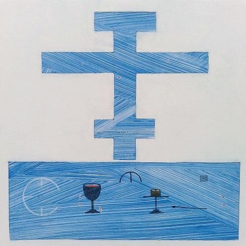 Sininen risti jonka edustalla kärsimyksen ja pelastuksen symboleita.