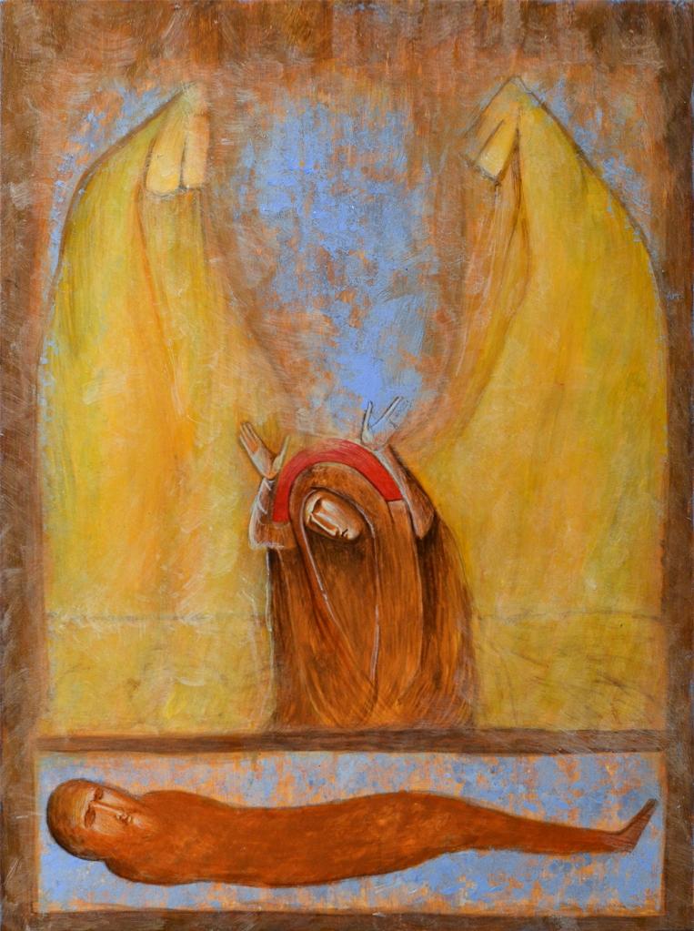 Magdalan Maria suree käärinliinoissa makaavaa kuollutta Jeesusta.