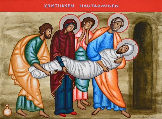 Käärinliinoihin kapaloitua kristusta kannetaan hautaan.