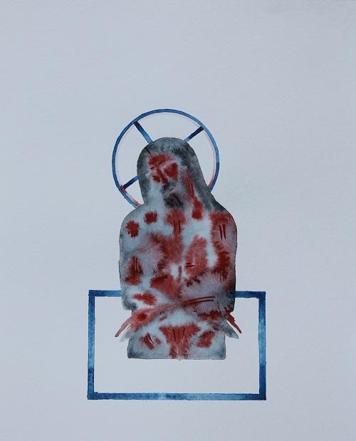 Abstrakti vesivärimaalaus runnellusta Jeesuksesta.