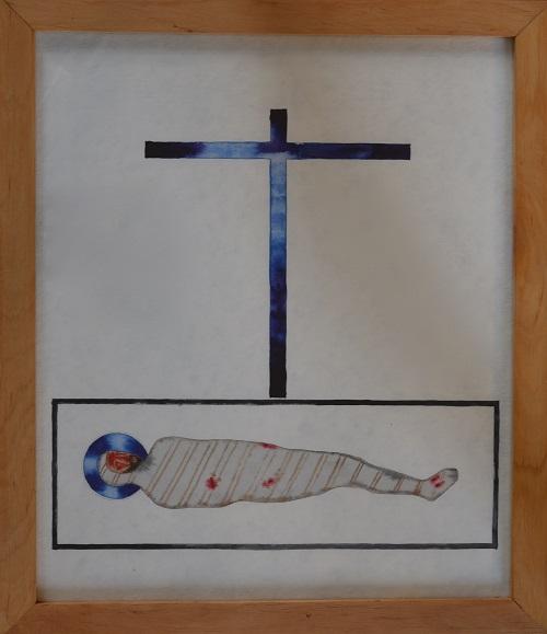 Ristiltä laskettu Kristus käärinliinoissa.