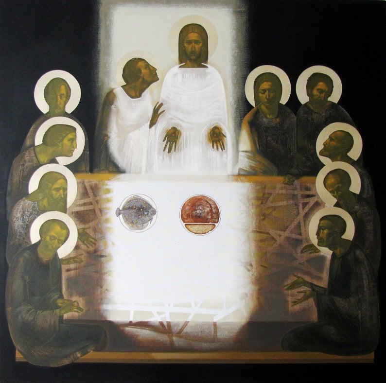 Ylösnoussut aterioit kymmenen opetuslapsen kanssa.