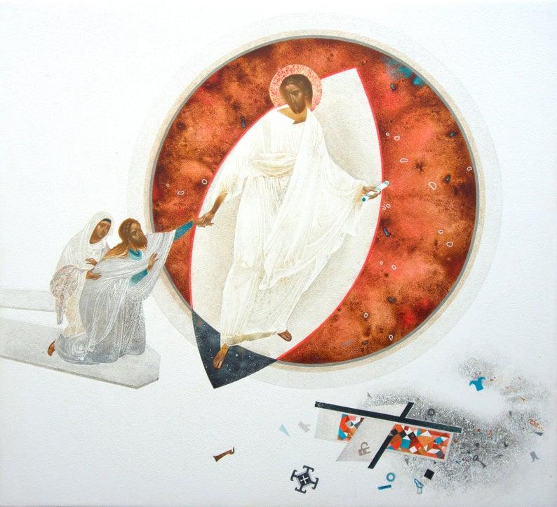 Ylösnoussut Jeesus kutsuu haudasta kahta hahmoa.