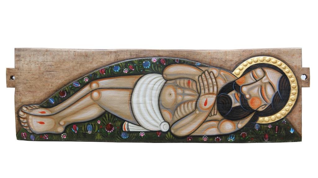 Vanhalle puulle maalattu kuva Jeesuksesta makaamassa haudassa.