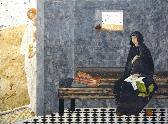 Enkeli saapuu ilmoittamaan Marialle Jeesuksen syntymästä.