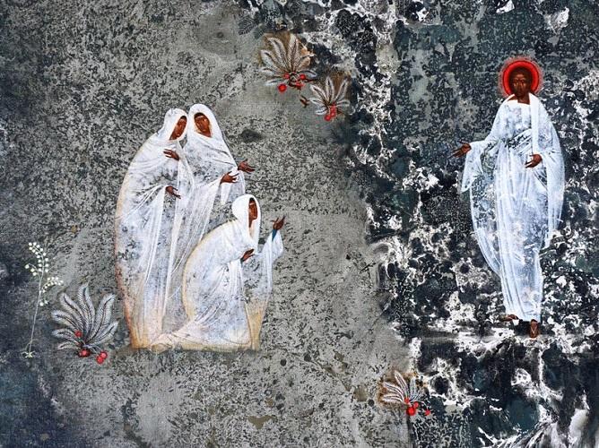 Kolme naista kohtaavat ylösnousseen Jeesuksen puutarhassa.