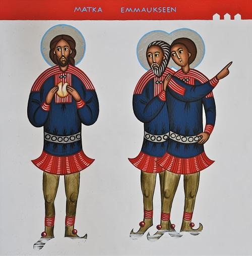Jeesus murtaa leipää kahdelle opetuslapselle, jotka viittelöivät tietä Emmaukseen.