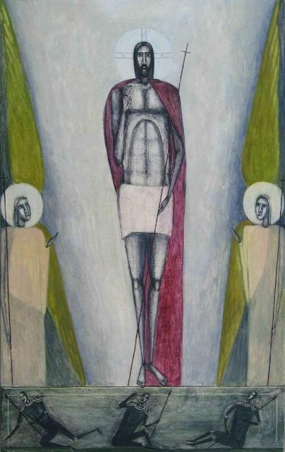 Ylösnousseen Jeesuksen sivuilla kaksi enkeliä, jaloissa maahan kaatuneet vartijat.
