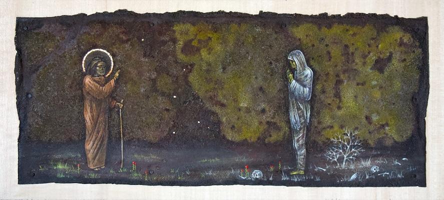 Jeesus kohtaa haudasta nousseen Lasaruksen, joka on yhä käärinliinoissaan.