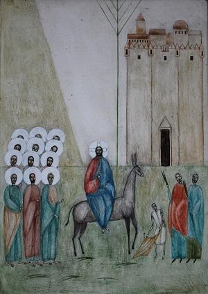 Kuvassa Jeesus ratsatsaa Jerusalemiin.