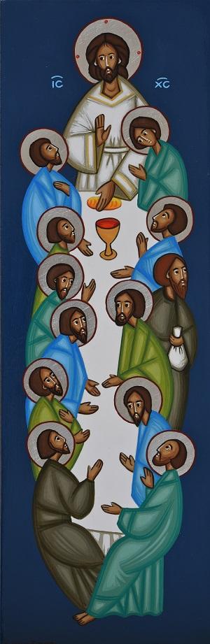 Jeesus aterioi opetuslastensa kanssa.