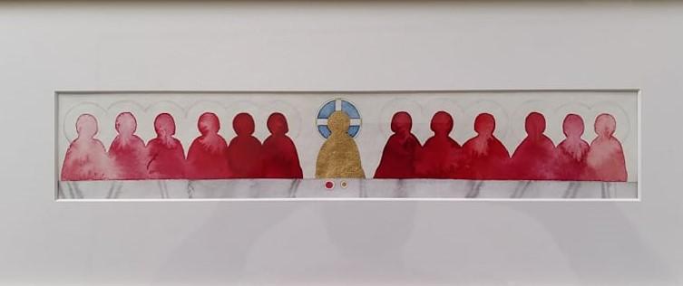 Akvarellimaalaus jossa Jeesus ja opetuslapset aterioivat.