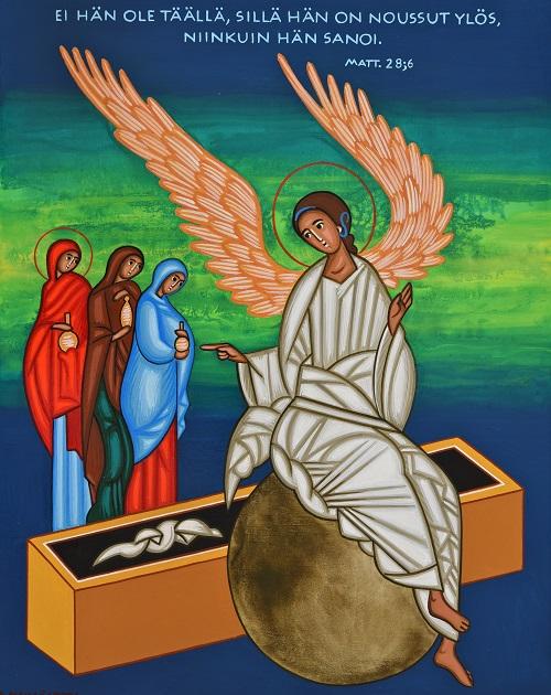 Naiset kohtaavat enkelin tyhjällä haudalla.